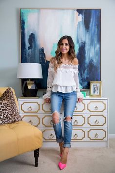 MAY 21ST, 2016 BY MARIA Home Office Tour - OUTFIT DETAILS: Shopbop Off-The-Shoulder Top Levi's Jeans Kurt Geiger Hot Pink Heels