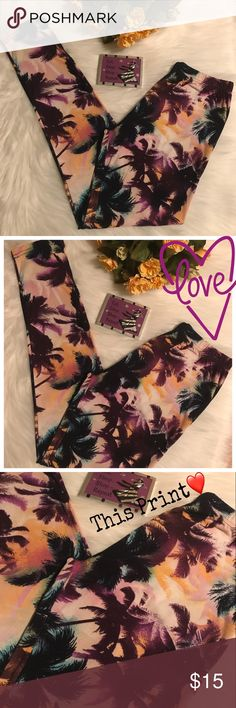 🍇Cutest Leggings Ever!!:)🍇 Palm Tree🌴Print😍 Seriously!!:) These are just the Cutest & so buttery soft like Lalaroe  The Print😍❤️‼️Excellent/New Condition!!💜 Sz. OS/ in my opinion would fit SZ's XS-M Best.:) 🆕 Listing! OFFERS WELCOME😀 Hot Kiss Pants Leggings
