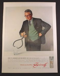 0 Steve Allen with, Ice Tongs, - Ad for Smirnoff Vodka, 1963