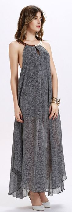 Grey Halter Asymmetrical Maxi Dress