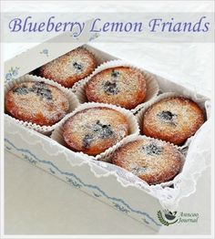 Blueberry Lemon Friands when you don't know what to do with your leftover egg whites :). If you do not have friand tin, use muffin or mini bread tins. Almond Recipes, Baking Recipes, Cake Recipes, Dessert Recipes, Citrus Recipes, Cupcakes, Cupcake Cakes, Mini Cakes, Mini Desserts