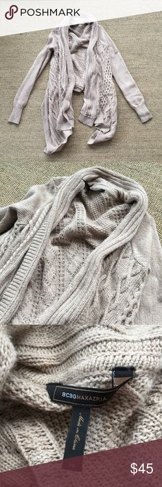 BCBGMAXAZRIA Tan Knit High Low Wool Sweater XS Gently to well worn condition. Color is slightly darker than the photo with the tag. My camera couldn't pick up the true color. 50% Cotton, 25% Wool, 25% Nylon. 🐾 Pet-friendly, smoke-free home. 🚫 No trades. No holds. 📦 Fast shipping! 🙋🏻 Considering all reasonable offers! BCBGMaxAzria Sweaters