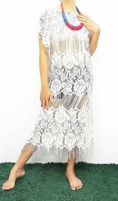 Lace kaftan Long Dress Swimsuit Beach Cover up Bikini Ivory