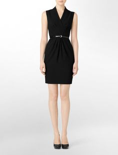 Pleated v-neck belted sheath dress - Calvin Klein. $59.99 on sale. (Suggested item to recreate this working mom weekend casual look: http://www.closet-coach.com/2013/01/23/working-mom-outfit-of-the-week-the-everyday-lbd/?utm_medium=social_media_campaign=Traffic)