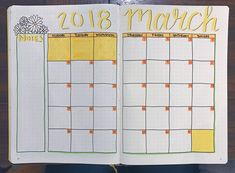 March monthly spread for my bullet journal! #bulletjournal #bujo #March #daisies #yellow #monthly