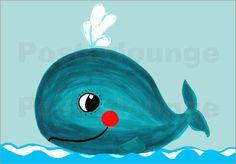Poster blauer Wal
