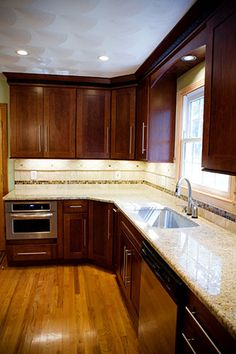 Image Detail for - Kitchen - custom stained cherry cabinets, granite counter, hard wood flooring
