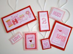 Valentine's Day Felt and Cardstock Ornaments Tags