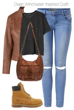 """""""Supernatural - Dean Winchester Inspired Outfit with requested boots"""" by staystronng ❤ liked on Polyvore featuring Timberland, Monki, Fat Face, Wet Seal, DeanWinchester and spn"""