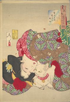 TSUKIOKA Yoshitoshi woodblock print, Japan 月岡 芳年 / I think the woman loves her cat so much.Because the cat's collar is the same fabric as the collar of the woman's kimono. Japanese Art Prints, Japanese Painting, Japanese Cat, Japanese Culture, Japanese Kimono, Woodblock Print, Culture Art, Art Asiatique, Japan Art