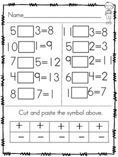 Use this first grade common core aligned skill builder (cut and paste) to review the concept of addition and subtraction as well as reviewing mathematical symbols. This sort be used as a small or whole group activity or additionally as a math center.