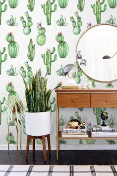 Wild cacti, removable wallpaper with softly green and a bit floral design. Cactus wall decoration #cacti #cactusmania #removablewallpaper #wallcovering #cactus #colorfulprint #colorful #wallmurals #peelandstick #homedecor #homeideas #interiordesignideas #interiordecorating