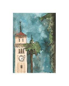 Watercolor print: La Torre de la IUPI by by estudioarbitrario