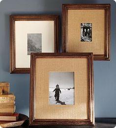 Burlap matted hanging frames