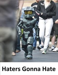 5 yr old HALO Suit. Such swagger! Too cute.