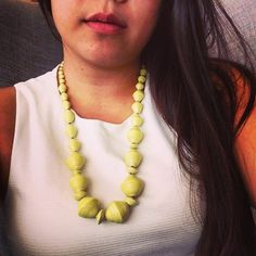 Rocking the lime bellflower necklace by @31bits at today's event at healthworks in back bay! We will be here until 6pm today