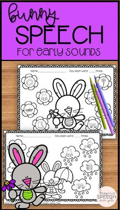 Are you looking for some No Prep printables to reinforce early articulation sounds with your preschool and early elementary students? If so, these adorable bunny themed worksheets are the perfect addition to your speech room. Use them for therapy sessions, RtI or as home reinforcement. All target sounds are picture supported. Click here to see more of this resource!