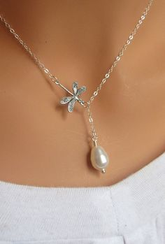 Dragonfly and pearl sterling silver lariat by RoyalGoldGifts