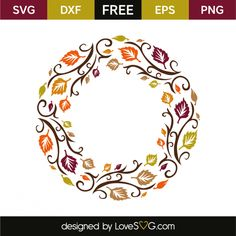 *** FREE SVG CUT FILE for Cricut, Silhouette and more *** Autumn monogram frame