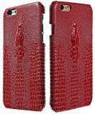 3Q Luxurious iPhone 6S Case iPhone 6 Case 4.7 inch Crocodile Design Premium Faux Leather Apple iPhone 6S Cover Red