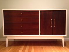 White and wood credenza - mid century modern - danish styling - beautiful restored