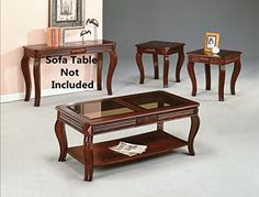 Brand New 3-pk Lydia Coffee Table and End Tables Cocktail set w/ Glass Table Top-Cherry Finish