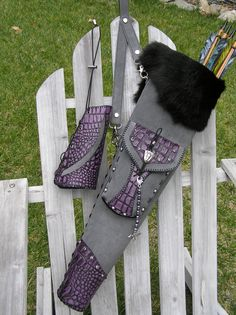 "Mystic Quivers ""Artemis"" Arrow Quiver and Full Coverage Armguard Set~ Special Order made for Zara in California. This is a combination Back and Side Quiver, Custom sized, with Purple Gator (Cowhide) Leather on Gray Suede. www.mysticquivers.com"