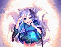 Anime picture with original hyanna-natsu long hair single looking at viewer blue eyes open mouth black hair breasts smile fringe white hair animal ears standing japanese clothes traditional clothes tail animal tail hair between eyes fang (fangs) Anime Neko, Anime Wolf, Chibi Neko, Dibujos Anime Chibi, Manga Anime, Manga Girl, Art Manga, Art Anime, Anime Kunst
