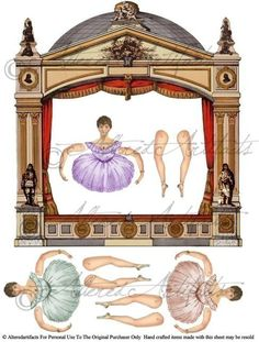 Instant Download Night At The Ballett Theater Puppet Articulated Paper Doll Paperdoll Digital Collage Sheet