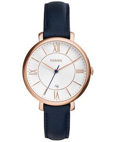 458d2dfc2b230 Fossil Women's Jacqueline Blue Leather Strap Watch 36mm ES3843 - Women's  Watches - Jewelry &