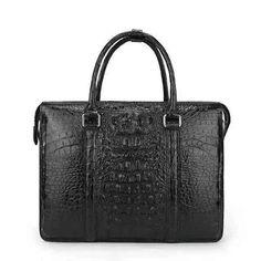Genuine Alligatore Leather Satchel Bag With Shoulder Strap For Men Black
