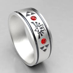 A tribute to Legend of Zelda in a unique mens wedding band! This ring comes with 2 Chatham lab created rubies for nice accent stones. Also available with lab created emeralds, or sapphires upon request. This 7mm wide wedding band is made from recycled silver and is handmade with a comfort fit to your size. The ring is carved from wax, then cast in the metal. From there it is finished by hand to achieve a great wearable look. Ring Specs: ● 7mm width ● 1.5mm Thickness- good weight, sturdy…