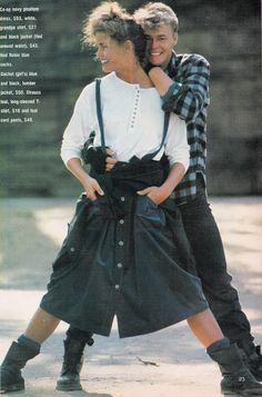 Glossy Sheen: Rough Stuff - Dolly March 1984 Skirts with overall straps, socks, and boots