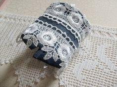 Blue Jean Denim And Lace  Cuff Bracelet  Arm Warmer  by dmtgun3, $23.00