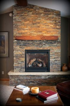 Interior, Small Wooden Table And Fireplace Shelf Plus Slate Fireplace Wall: Cool Slate Fireplace Ideas