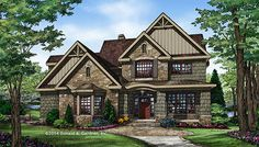 New Two Story Craftsman Plan 1343: The Braxton! 4 beds, 3 baths, 2876 sq. ft. with a curved staircase, large kitchen, and tons of storage space! See it on our House Plans Blog http://houseplansblog.dongardner.com/new-two-story-craftsman-plan-1343/ #Craftsman #DreamHome #Storage