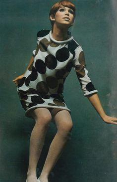 March 1967, Paris Vogue, Ann Turkel photographed by David Bailey. 60's op art mod mini fashion.