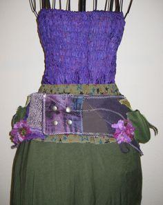 Amethyst Urban Pixie/Steampunk Utility Belt Purple and Army Green with Pockets Adjustable Corset Cinch Waist. $42.80, via Etsy.