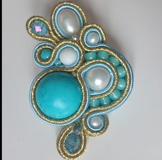 . Soutache Pendant, Soutache Earrings, Shibori, Sister Gifts, Silk Ribbon, Ring Necklace, Beaded Embroidery, Turquoise Bracelet, Jewlery