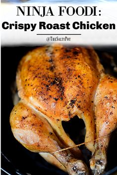 This Ninja Foodi Roast Chicken recipe is SO easy, moistl and SUPER delicious! It… This Ninja Foodi Roast Chicken recipe is SO easy, moistl and SUPER delicious! It's roasted in one pot- even the gravy! Directions for Instant Pot included! Air Fryer Dinner Recipes, Air Fryer Recipes Easy, Grilling Recipes, Cooking Recipes, Healthy Recipes, Juice Recipes, Grilled Whole Chicken, Cooking Whole Chicken, Best Whole Chicken Recipe