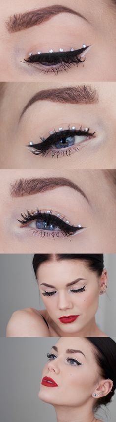 The beauty of simple black eye liner with the perfect subtle crystal accents by Linda Hallberg.