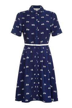 Bicycle Belted Shirt Dress Navy   Yumi