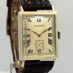A 1925 vintage Longines sterling silver Rectangular-shaped timepiece with a silver dial, black roman numerals and a 24mm wide case. (Store Inventory # 10024, listed at $1500).  #longines #rectangle #vintage #watch #classic #watches #gentleman #dapper #dre