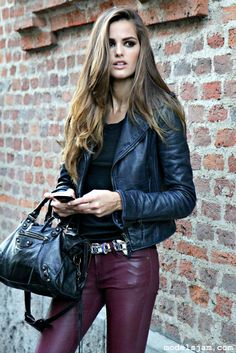 burgundy leather pants from Izabel Goulart