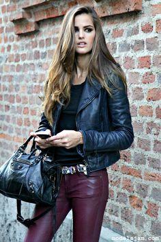 burgundy leather pants from Izabel Goulart