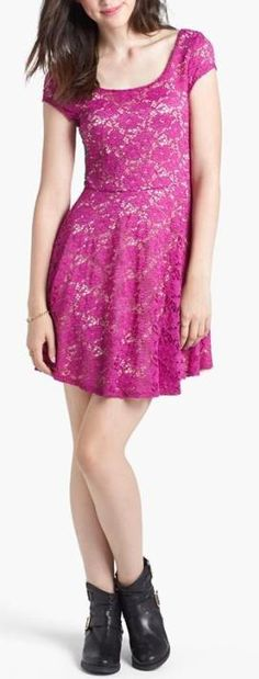 Adorbs! Pink Lace Skater Dress