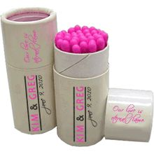 A really cool wedding favor for your special day. Custom printed matchbox cylinders with your choice of match tip colors.