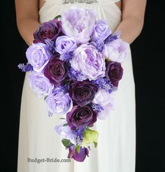 Cascading Plum and Lilac Wedding Bouquet with lilac peonies, lilac roses and dark plum roses. Silk Wedding Flower Packages starting as low as $100