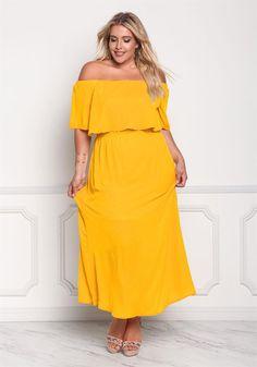 Plus Size Clothing | Plus Size Layered Off Shoulder Maxi Dress | Debshops