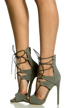 Grey Faux Nubuck Lace Up Single Sole Heels